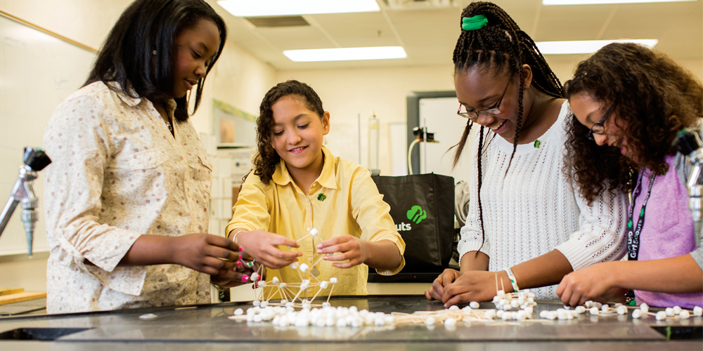 Girl Scouts work together to build DNA using marshmallows and toothpicks.